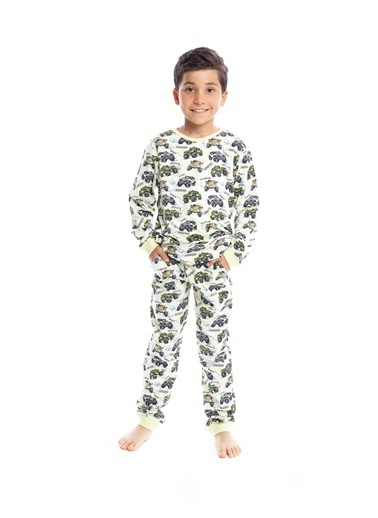 Pamuk & Pamuk Erkek Çocuk 4X4 Desen Pamuklu Pijama Takımı Renkli